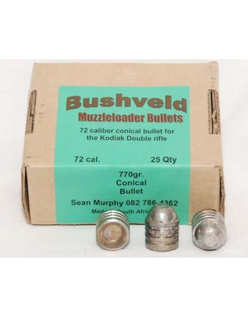 .72 Caliber Conical Bullet - Box of 25