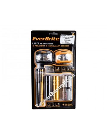 Everbrite 4X Flashlights/2X Headlamps Combo W/ Carbon Batteries