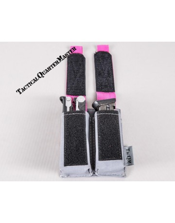 Adjustable Double Mag Pouch Large Pistol - Grey w/ Pink