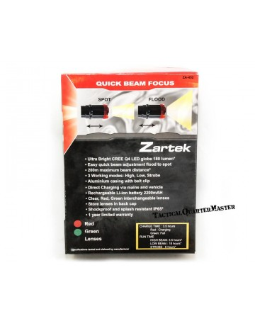 Zartek LED Rechargeable Torch 3W LED with Red & Green lenses